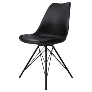 Fusion Living Eiffel Inspired Black Plastic Dining Chair- Various Leg Bases