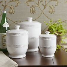 Kitchen Canister Set Of 3 Ceramic White Canisters Food Safe Jars Home Decor