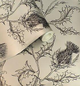 Designer Silver / Pewter & Charcoal, Scottish Thistle Design Wallpaper