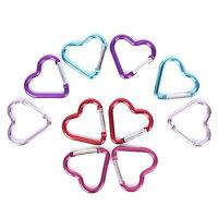 DI- 5Pcs Heart Shape Carabiner Snap Hook Clip Key chain Key ring Clips Clasp Hik