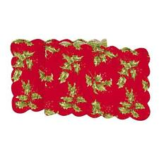 """April Cornell Christmas Holiday Quilted 51"""" Table Runner Holly Red Plaid Pattern"""
