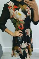 Ted Baker floral 3/4 sleeves skater dress Xs TB 1