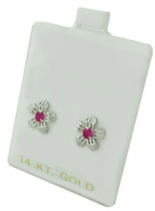 RUBY 0.28 Cts STUD EARRINGS 14K WHITE GOLD * New With Tag * SCREW BACKS
