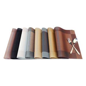 6pcs Gray Vinyl PVC Placemat Dining Table Weave Woven Rectangle Mat
