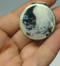 Antique solid silver enamel guilloche Victorian little compact case Cats playing