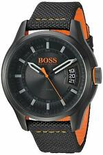 *BRAND NEW* Hugo Boss Men's Hong Kong Black Nylon Strap Watch 1550003
