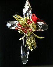 NEW Kissing Krystals Hanging Classic Cross with Cardinal by Ganz