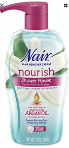 Nair Hair Remover Shower Power Nourish Max Moroccan Argan Oil 13 oz
