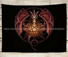 Pentagram Dragon fantasy tapestry cloth poster colorful wall decor