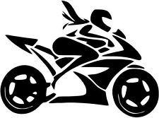 "GIRL RIDING MOTORCYCLE Vinyl Decal Sticker-8"" Wide White Color"