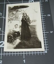 1920's BOY in EARLY PEDAL CAR Toy Elegant WOMAN Fox Stole Fashion Vintage PHOTO
