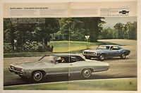 Vintage 1968 Chevrolet Impala And Camaro SS Big Print Photo Separated Ad 13x20
