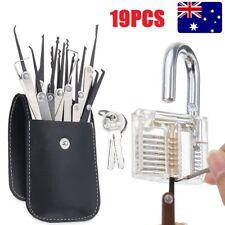 19PC Practice Lock Pick Set Padlock Locksmith Lockpick Unlocking Key Tool Kit AU