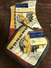 New Oven Mitt Pot Holder Set Collection Rooster Country Living Home Kitchen #G