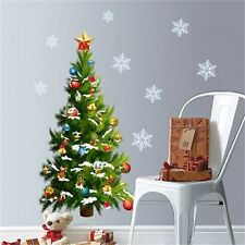 Xmas Tree White Snowflake Wall Stickers PVC Decals Home Party Decor Mural Art