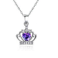 Crown Necklace14k White Gold Heart Plated Heart Shape Crystal  Pendant Jewelry