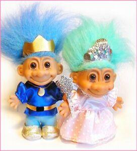 PRINCE & PRINCESS TROLLS Aqua & Blue Hair NEW OLD STOCK Russ Sweet Costumes