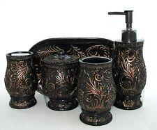 5 Pc Set Brown,Bronze Resin Soap Dispenser,Tumbler,Tray,Ja r+Lid,Toothbrush Hold