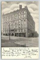 Kansas City Missouri~Midland Hotel~View from Across Street~1906 B&W Postcard