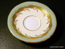 Aynsley Bone China GOLD LEAVES ON CELADON GREEN RIM ~ Saucer