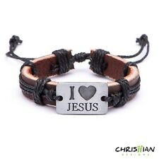 "Wrap Christian Leather Cuff Bangle Wristband Religious Bracelet ""I Love JESUS"""