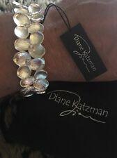 Diane Katzman Flower Bracelet With Clear Stones Beads Silver Stretch