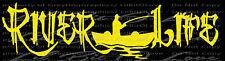River Life Grunge Font Fisherman in Boat Vinyl Decal Fishing Sticker Fish Car