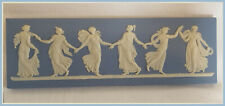 """Vtg Blue Wedgwood Plaque DANCING HOURS 8.75"""" x 2.75""""  Excellent READY TO FRAME"""