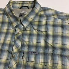 0fdc7a1de3c Columbia Omni-Dry Men's L Gray plaid Vented Outdoor Hiking Shirt Short  Sleeve