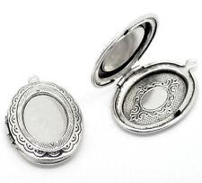 5 Antik Silber Oval Medaillon Fassung Anhänger 34x24mm