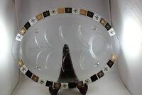 Vintage Inland Glass Meat Platter Tray Atomic Tree Starburst Black Gold MCM OVAL
