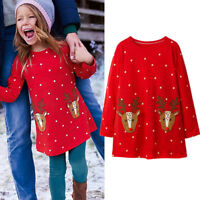 Kids Girl Christmas Reindeer Print Long Sleeve Cotton Mini Dress Xmas Tunic Tops