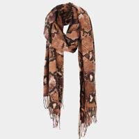 NEW Python Snake Skin Animal Print Soft Oblong Rectangular Wrap Tassel Scarf