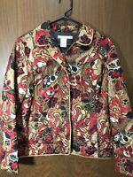 Women's REQUIREMENTS Quilted Zip Up Jacket Red Black Floral Sz XL