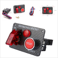 Ignition Switch Panel Push Button Engine Start Toggle For Racing Car 12V Red LED
