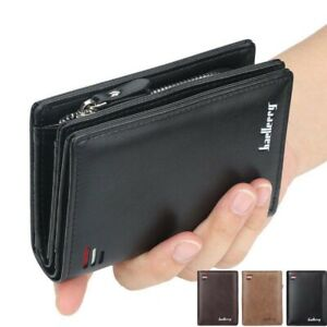 Men's PU RFID Wallet Designer Card ID Protection with Zipper Coin Purse New