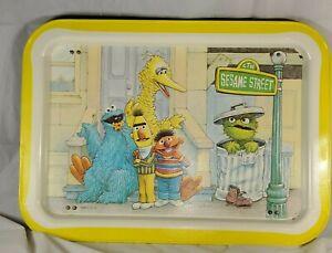 Sesame Street Folding Metal TV Tray Vintage 1977 BigBird Bert Ernie Oscar Cookie