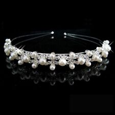 Bride Rhinestone Bridal Bridesmaid Crown Headband Wedding Crystal&Pearl Tiara
