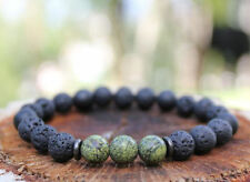 Wrist Buddhism pray 8MM volcanic Lava Green jade Bracelet men 7.5inches Chakas
