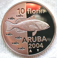 Aruba 2004 Sealife Fish 10 Florin Silver Coin,Proof