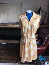 "Vintage Polyester Tea  Dress 46"" Mellow Yellow Mod"