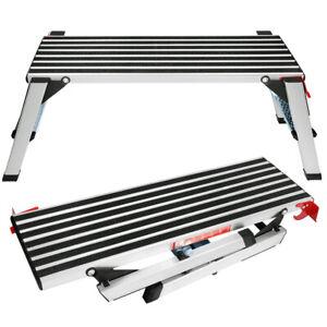 Aluminum Step Stool Folding Bench Work Platform Non-slip Drywall Ladder 330lbs
