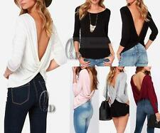 AU SELLER Women's Cotton Long Sleeve Basic Slim Top T-Shirt Backless Tee T159