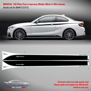 BMW M Performance Side Skirt Stripes decals Set for F22 / F23