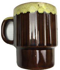 Chocolate Brown / Yellow Drip Glaze Stackable Retro Coffee Mug Cup 1970s Vintage