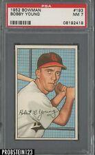1952 Bowman SETBREAK #193 Bobby Young St. Louis Browns PSA 7 NM
