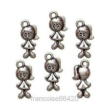 6 pcs BRELOQUE CHARM PERLE / PETITE FILLE 15mm / CREATION BIJOUX BRACELET #B189
