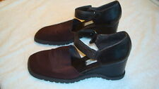 Womens Donald J. Pliner Brown Leather/Fabric Wedge Heels Shoes-8.5