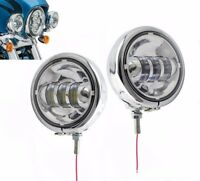 """2x 4.5"""" LED Auxiliary Spot Fog Passing Lights Lamp & Housing Bucket For Harley"""
