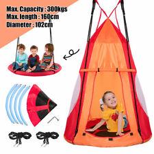 2 in 1 Kids Hanging Tent Swing Set Indoor Hammock Chair Yard Play Equipment